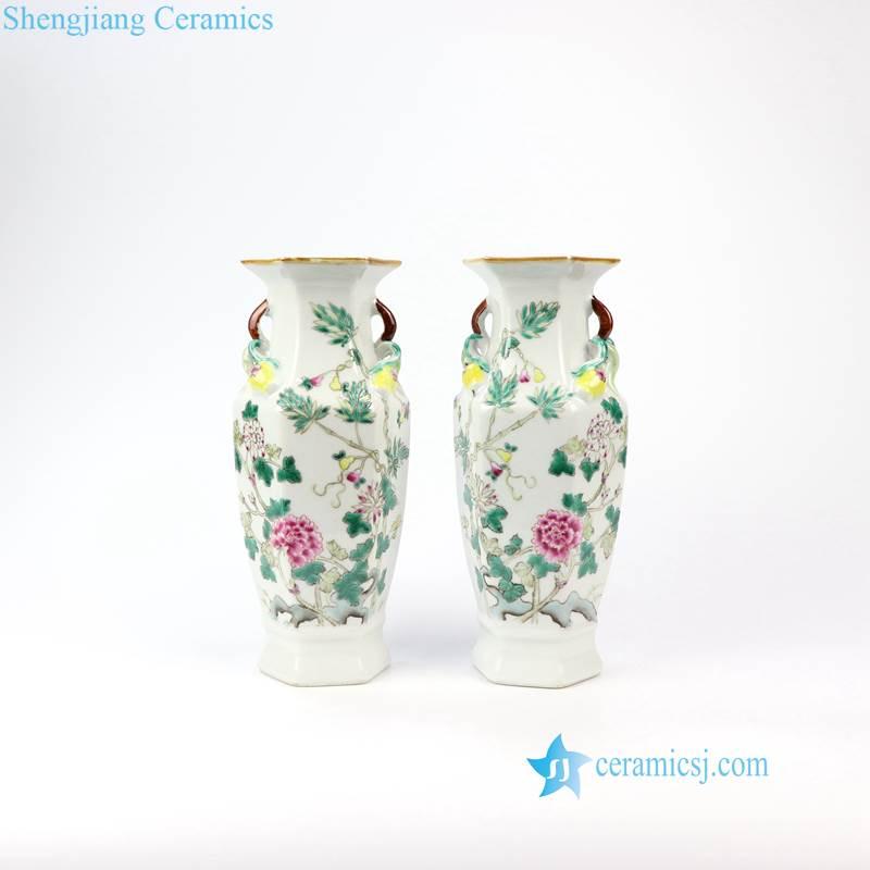 famille rose antique vase