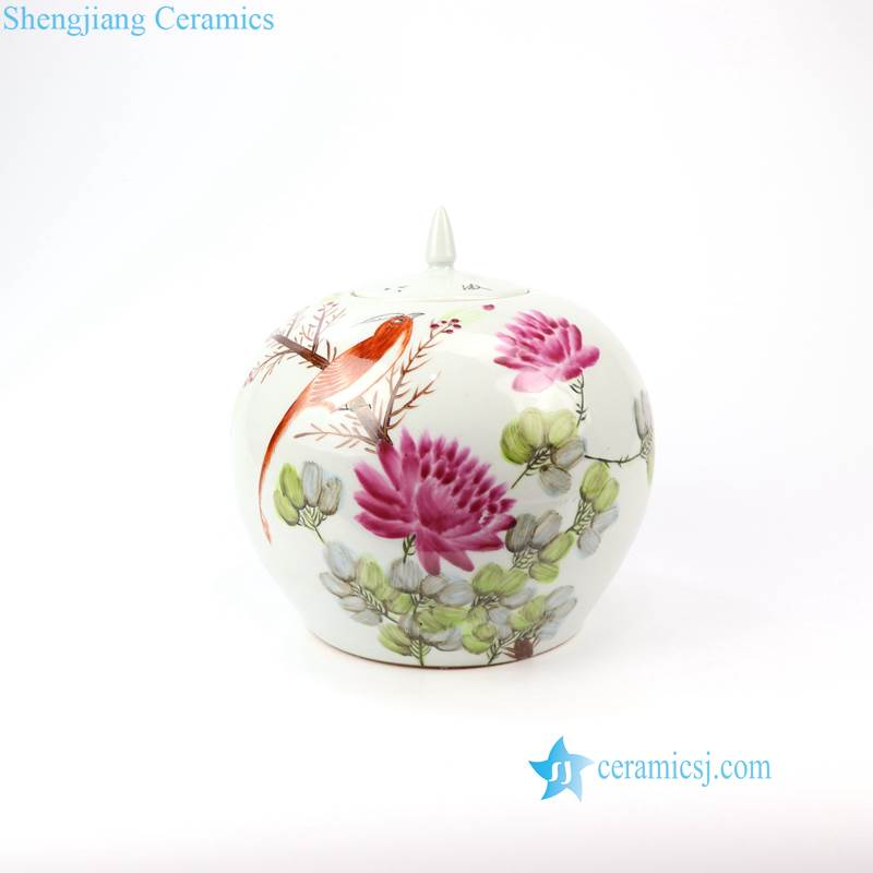RZIH08 Candle knob hand painted bird floral porcelain jar