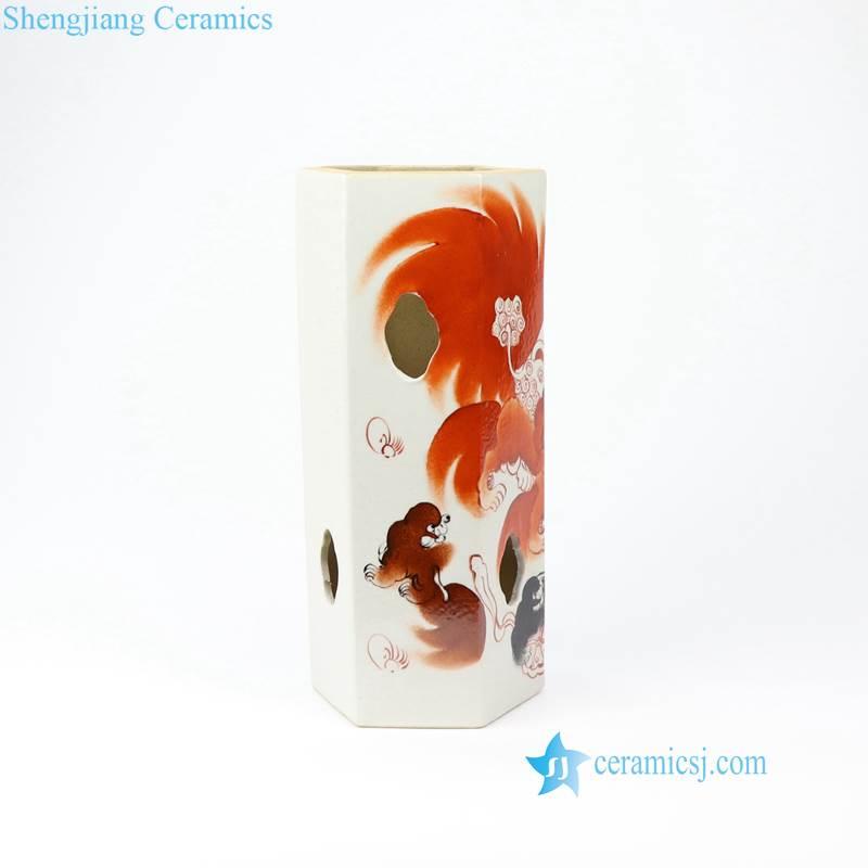 red lion porcelain vase