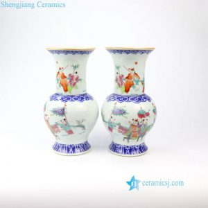 RZIH12 Jingdezhen China traditional wedding gift kylin brings children pattern ceramic vase