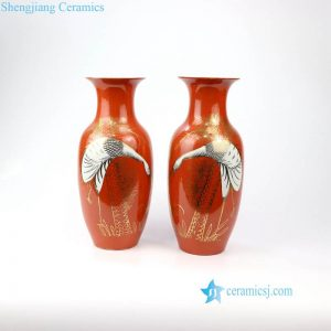 RZIH13 Japan fashion red crane porcelain vase