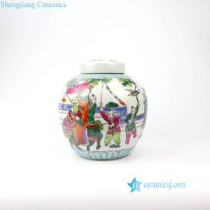 RZIH14 Old famille rose hand painted kid porcelain jar