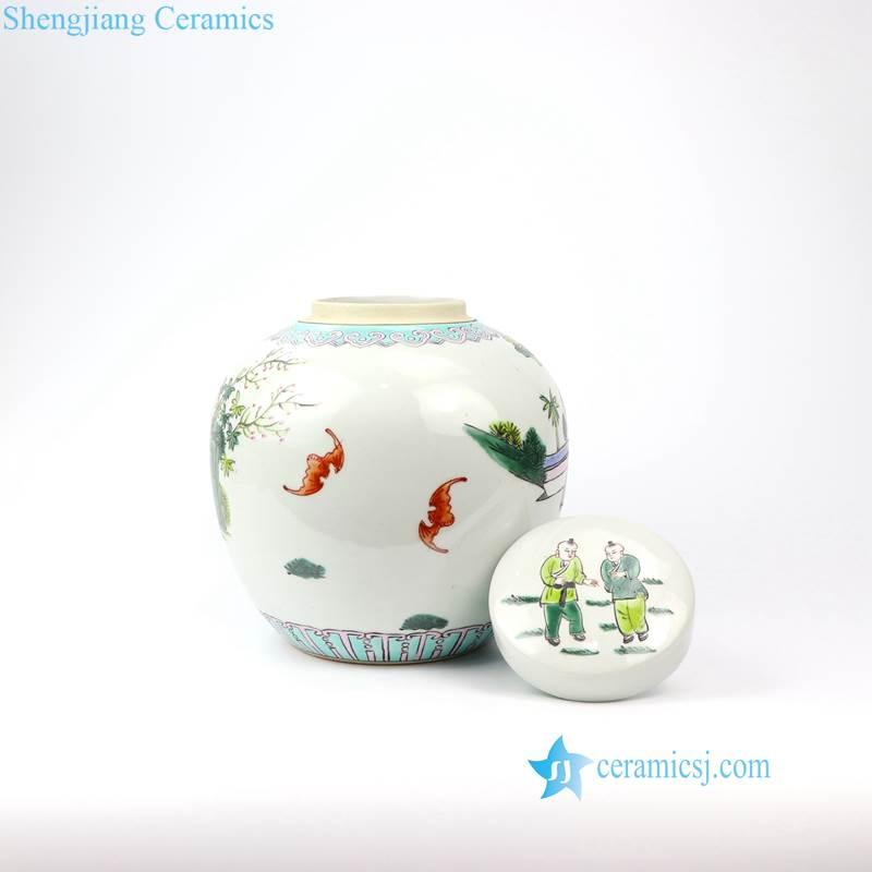 RZIH14 Old famille rose hand painted kid porcelain jar