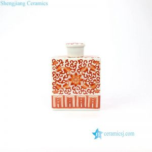 RZIH15 Red curling leaf ceramic material square box jar