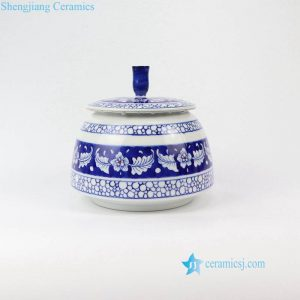 RZNM02 Blue and white hand painted sealed ceramic spice jar