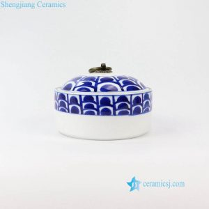 RZNM04 Cute pattern hand painted ceramic jar with ring