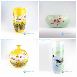 RZNP01-4 China fashion carved lotus fish pond ceramic vase