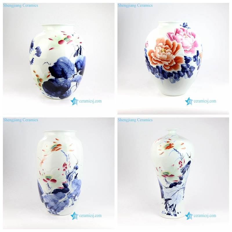 blue red and white peony vase