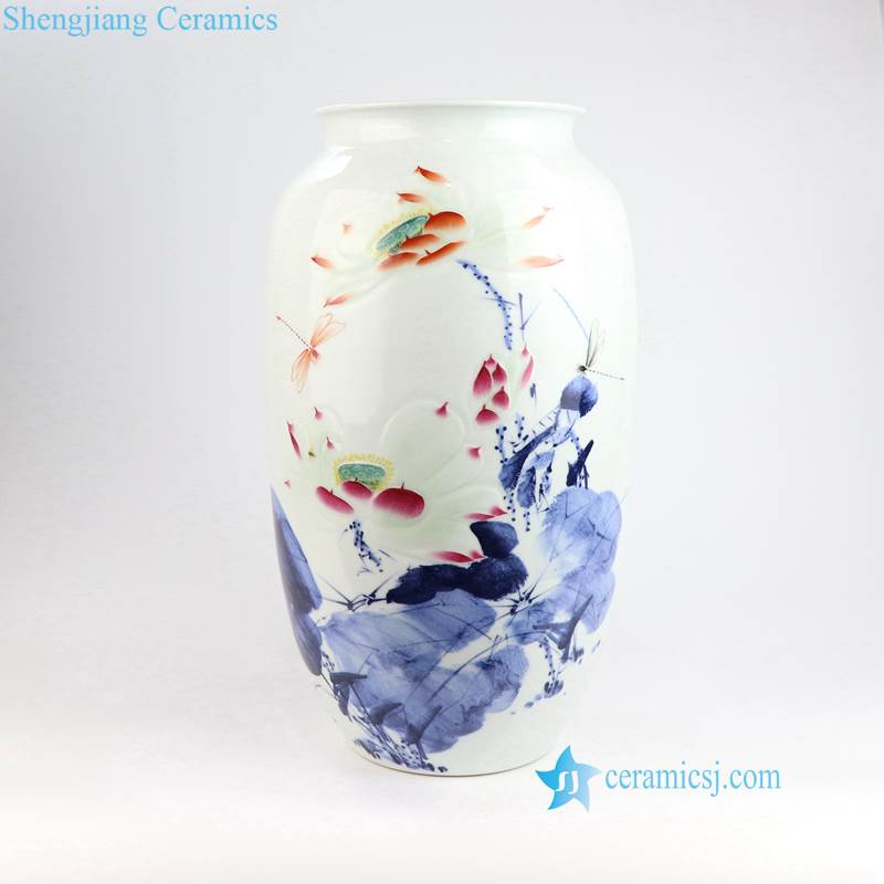 RZNP07 12-14 Blue red and white hand painted Jingdezhen style lotus peony porcelain vase