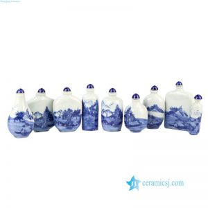 RZNT01 Blue and white landscape pattern treasure ceramic snuff bottle