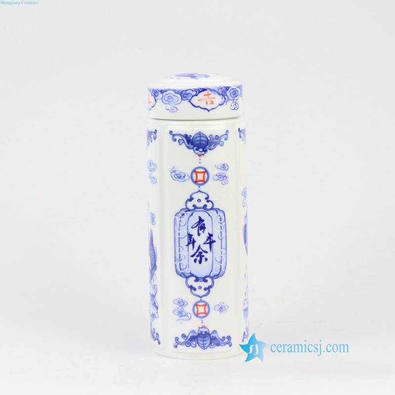 RZNU01-ABC blue and white porcelain thermos tea cup