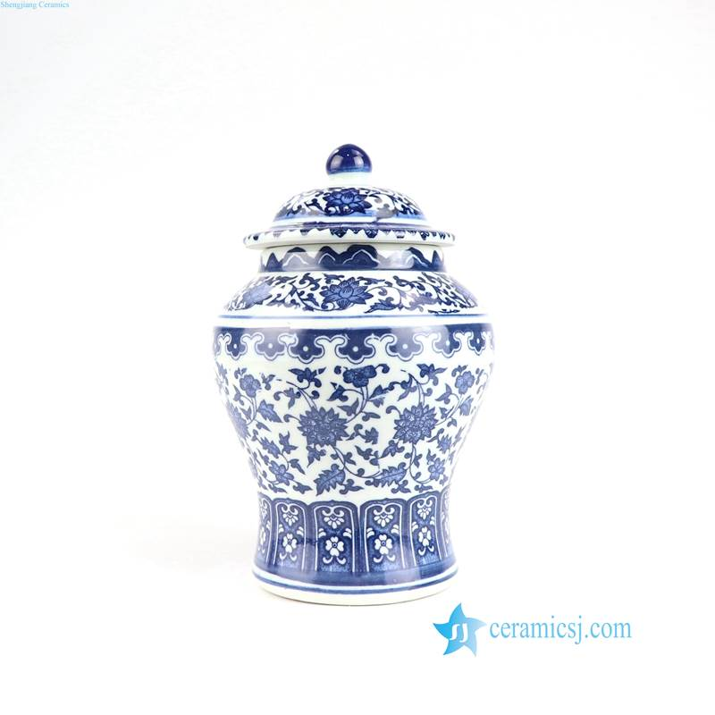 Asia blue and white flower jar
