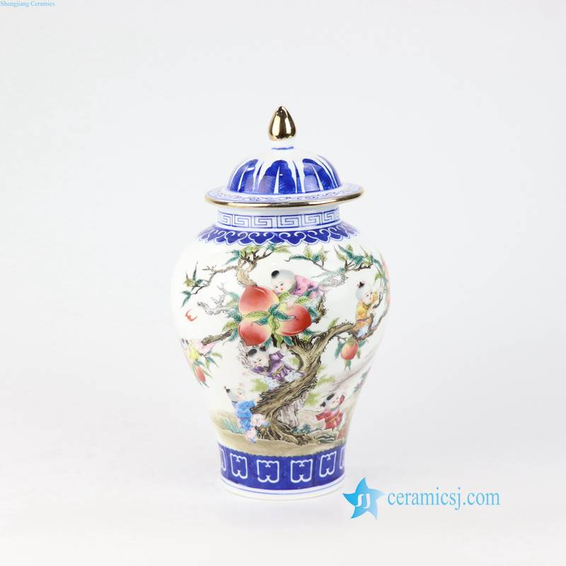 longevity peach porcelain jar