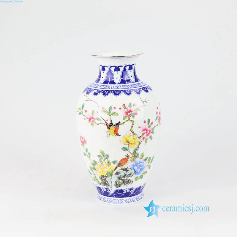 blue and white bird floral vase