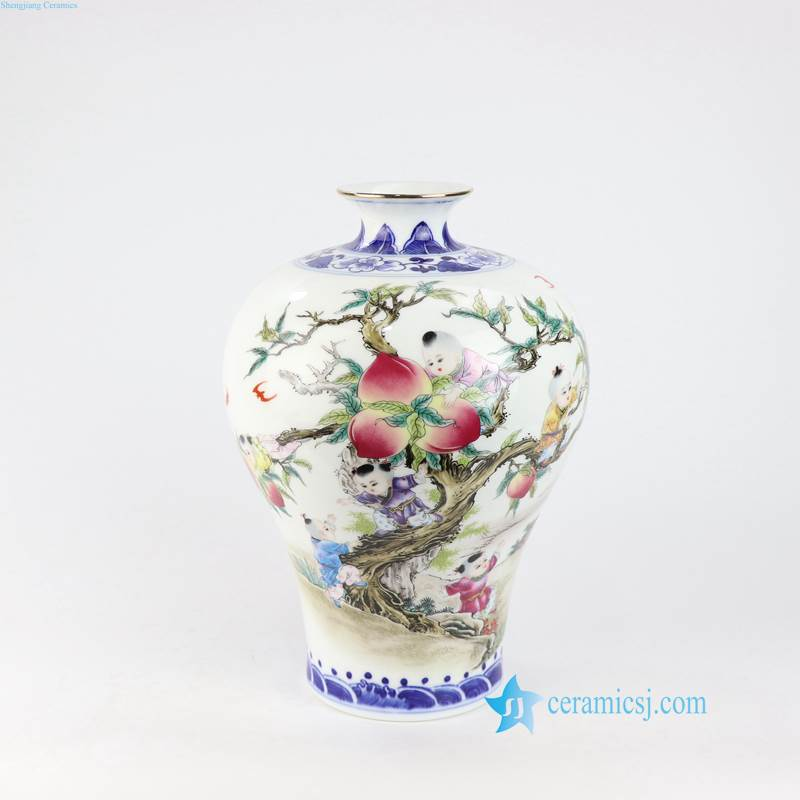 kids peach pattern ceramic vase