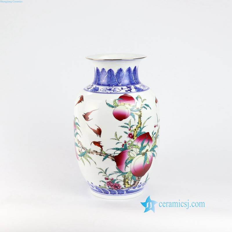 logevity peach porcelain vase