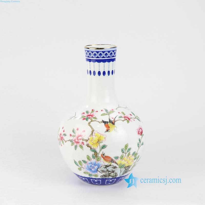 globular shape bird flower vase