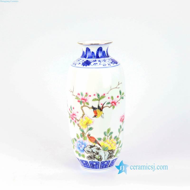 yellow pink flower bird porcelain vase