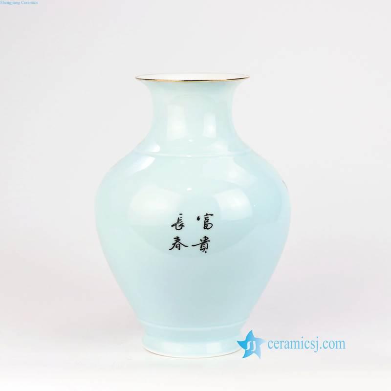 round body bird ceramic vase