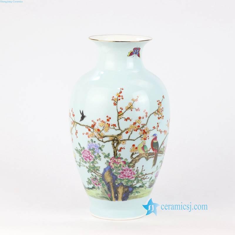 pink flower bird porcelain vase
