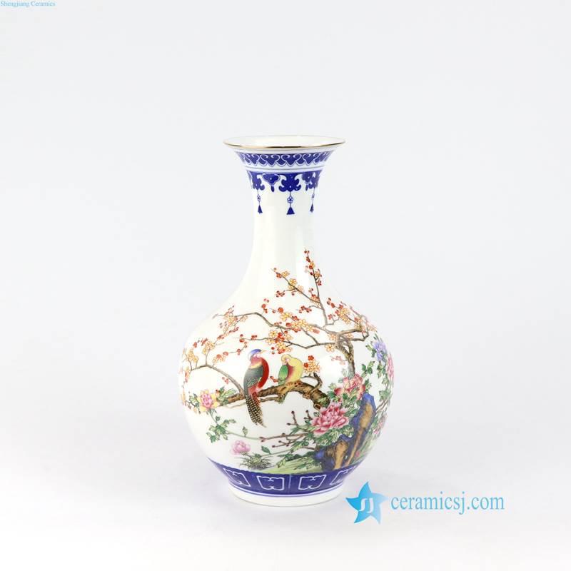blue rim bird flower ceramiic vase