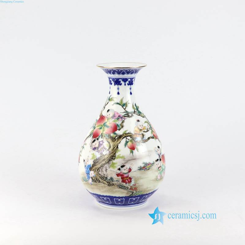 kid peach porcelain vase from China