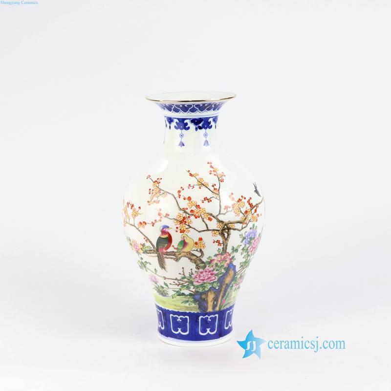 blue and white bird vase