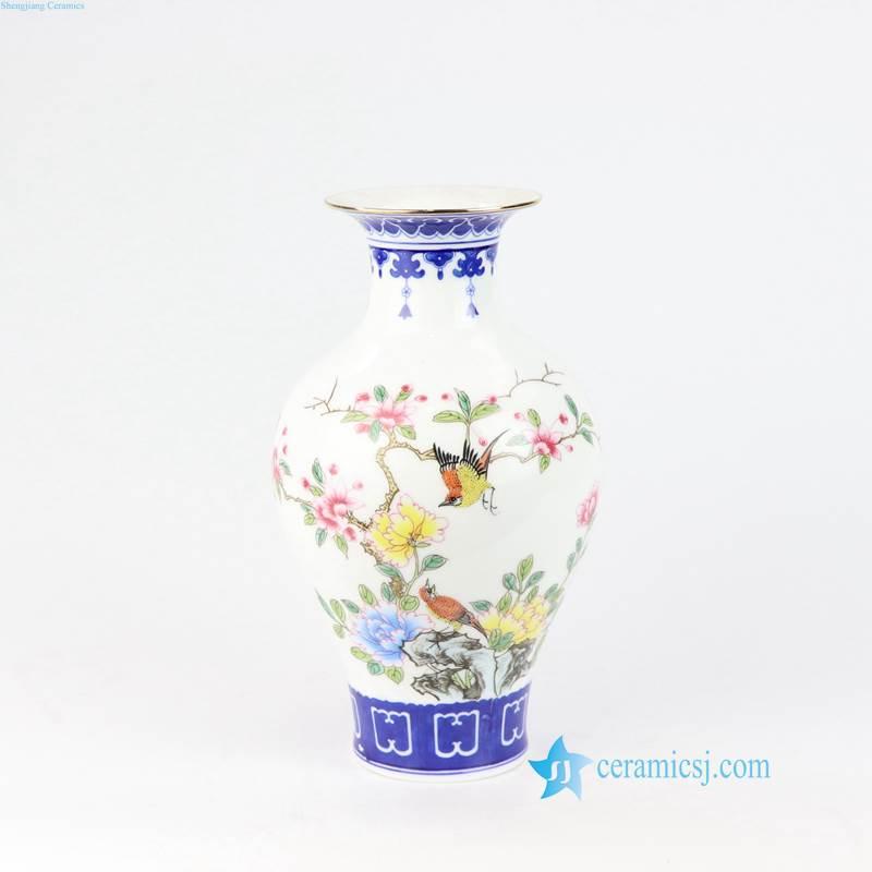 bird floral antique ceramic vase
