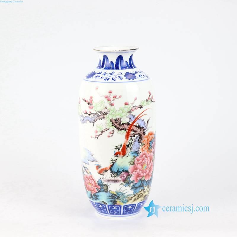 bird floral porcelain tall vase