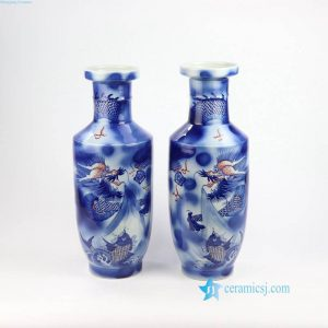 RZNX01 Underglaze red blue and white hand paint dragon ceramic vase