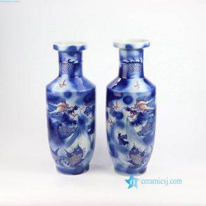 RZNX01 Underglaze red blue and white hand paint dragon ceramic vase
