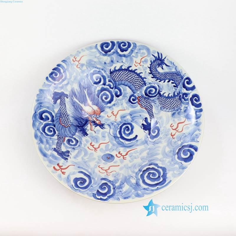 fire dragon in cloud porcelain plate