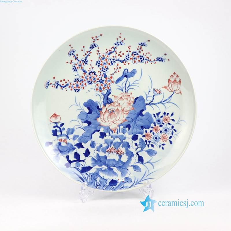 hand drawn floral porcelain plate