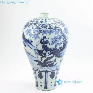 RZNo01 Yuan Dynasty blue and white xiaohe chasing hanxin under moonlight antique porcelain vase