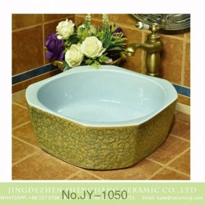 SJJY-1050-13 Moonlight glaze inside coarse surface ceramic bowl
