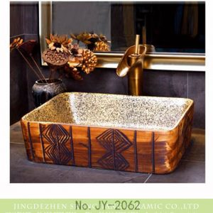SJJY-1062-8 Indian mural caramel color square ceramic basin