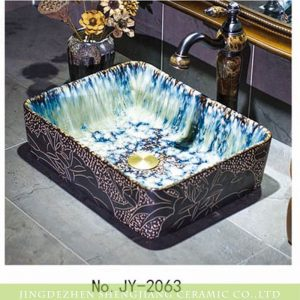 SJJY-1063-9 Rectangular waterfall inside carved lotus ceramic sink