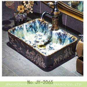 SJJY-1065-9 Beautiful cascade inside carved China view ceramic sink