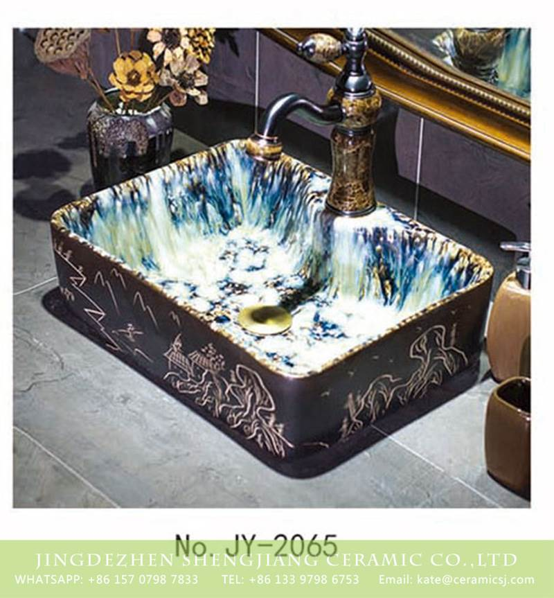 cascade inside carved ceramic sink