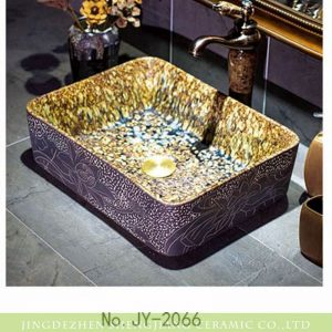 SJJY-1066-9 Mixed style amber color inside carved lotus outside porcelain sink