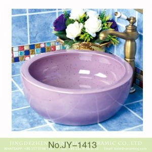 SJJY-1413 Round purple with spray dot porcelain sink
