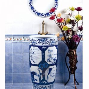 SJJY-1555-70 Hand paint lady blue and white pedestal bowl