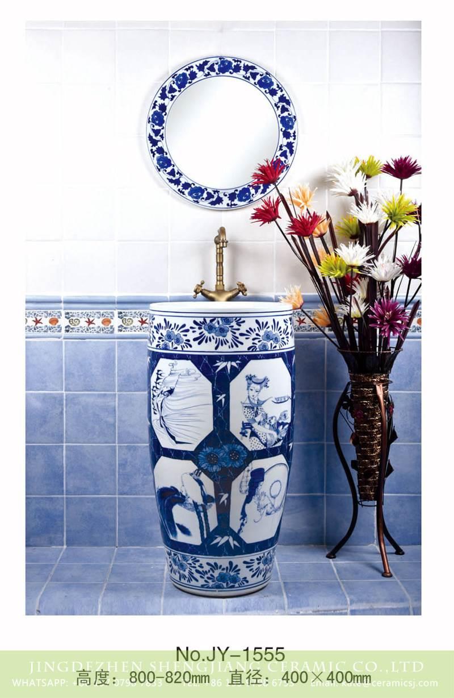 blue and white pedestal bowl