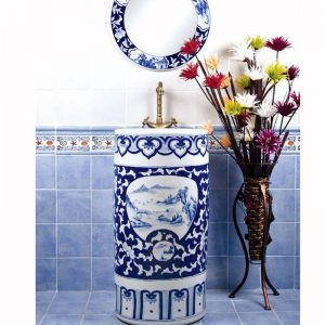 SJJY-1556-70 Landscape blue and white pedestal sink