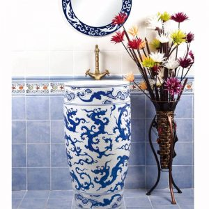 SJJY-1557-70 Luxury hotel blue dragon pedestal porcelain wash bowl