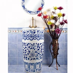 SJJY-1558-70 China traditional hand painted blue floral pedestal sink