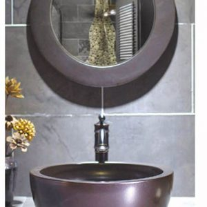 SJJY-2012-3 Bathroom thick layer matt metal style ceramic material sink
