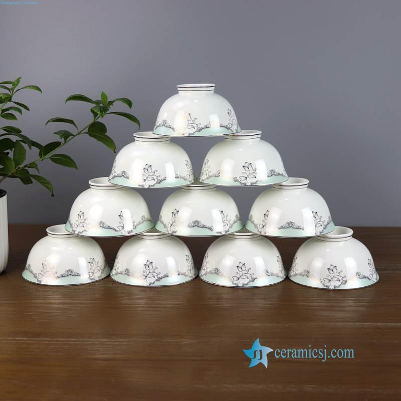 ZPK91-B Bone China material green curtain pattern ceramic bowl