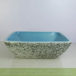 sjbyl-6131 Green granite surface ocean blue inside design ceramic rectangular sink