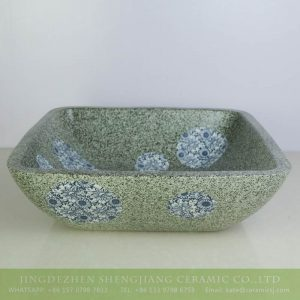 sjbyl-6132 Blue and white dot square green ceramic basin